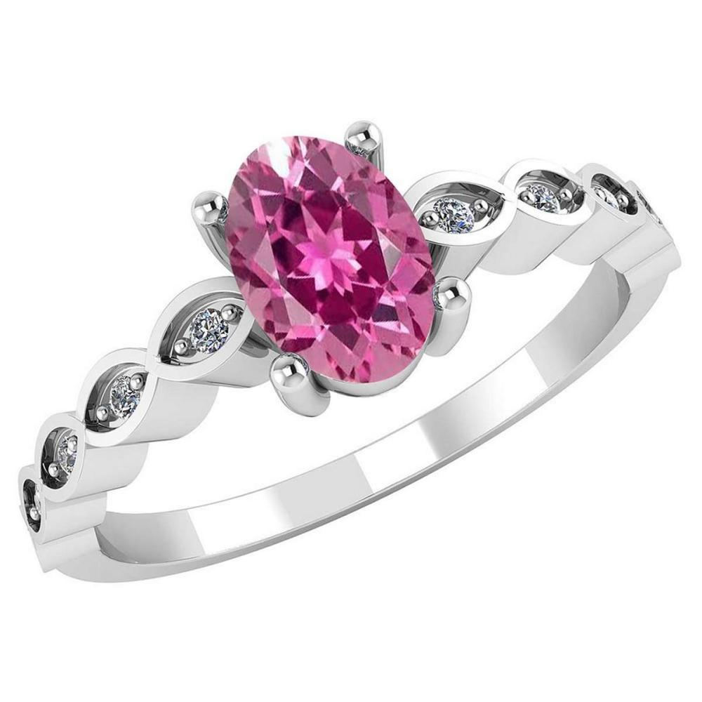 Certified .90 CTW Genuine Pink Tourmaline And Diamond 14K White Gold Ring #PAPPS91707