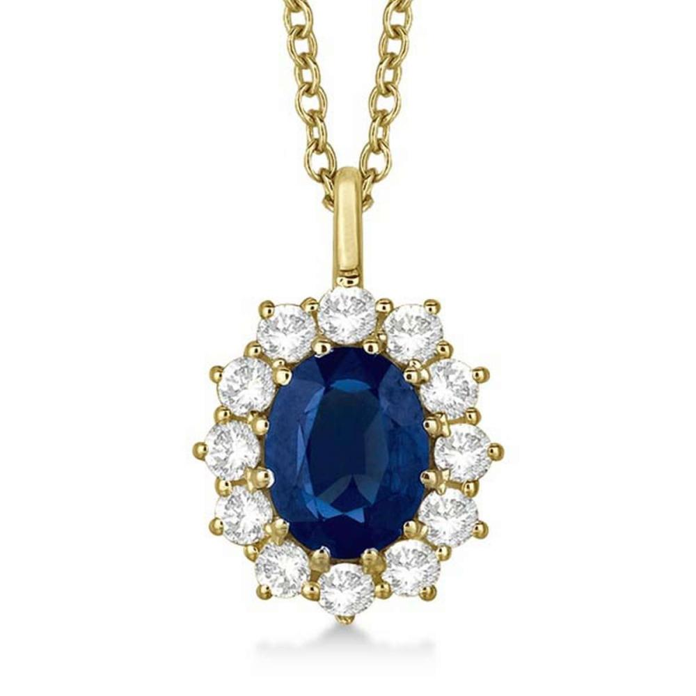 Oval Blue Sapphire and Diamond Pendant Necklace 14k Yellow Gold (3.60ctw) #PAPPS20982