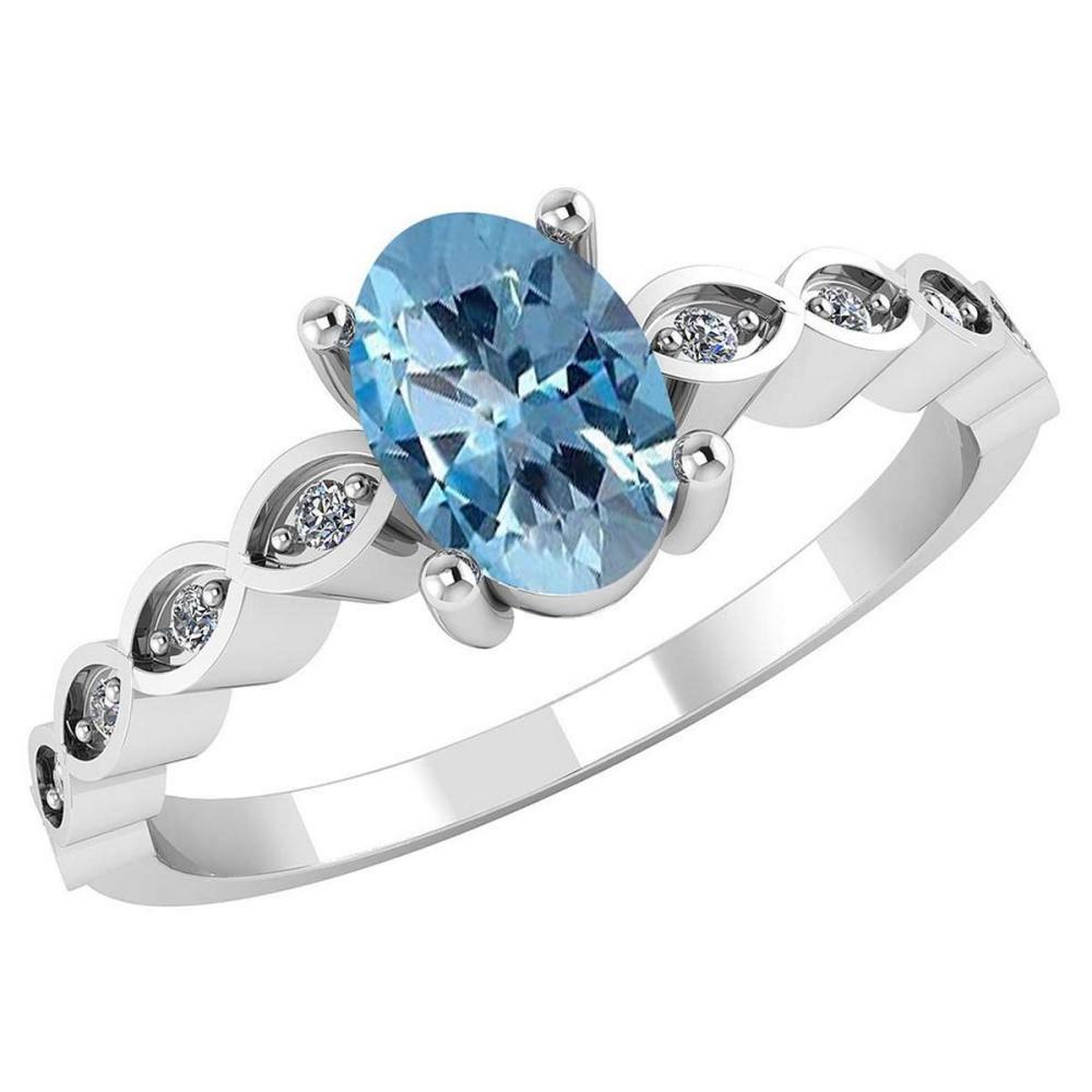 Certified .90 CTW Genuine Aquamarine And Diamond 14K White Gold Ring #PAPPS91715