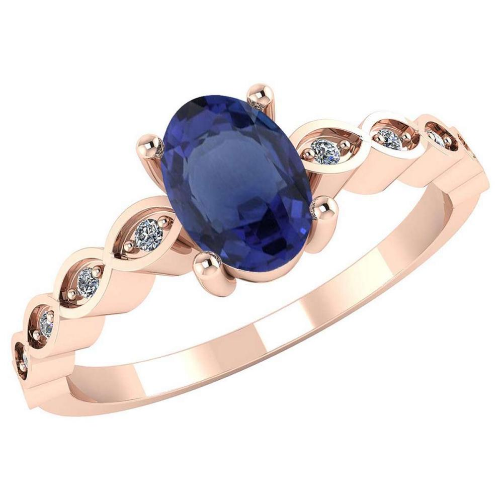 Certified .90 CTW Genuine Blue Sapphire And Diamond 14K Rose Gold Ring #PAPPS91717
