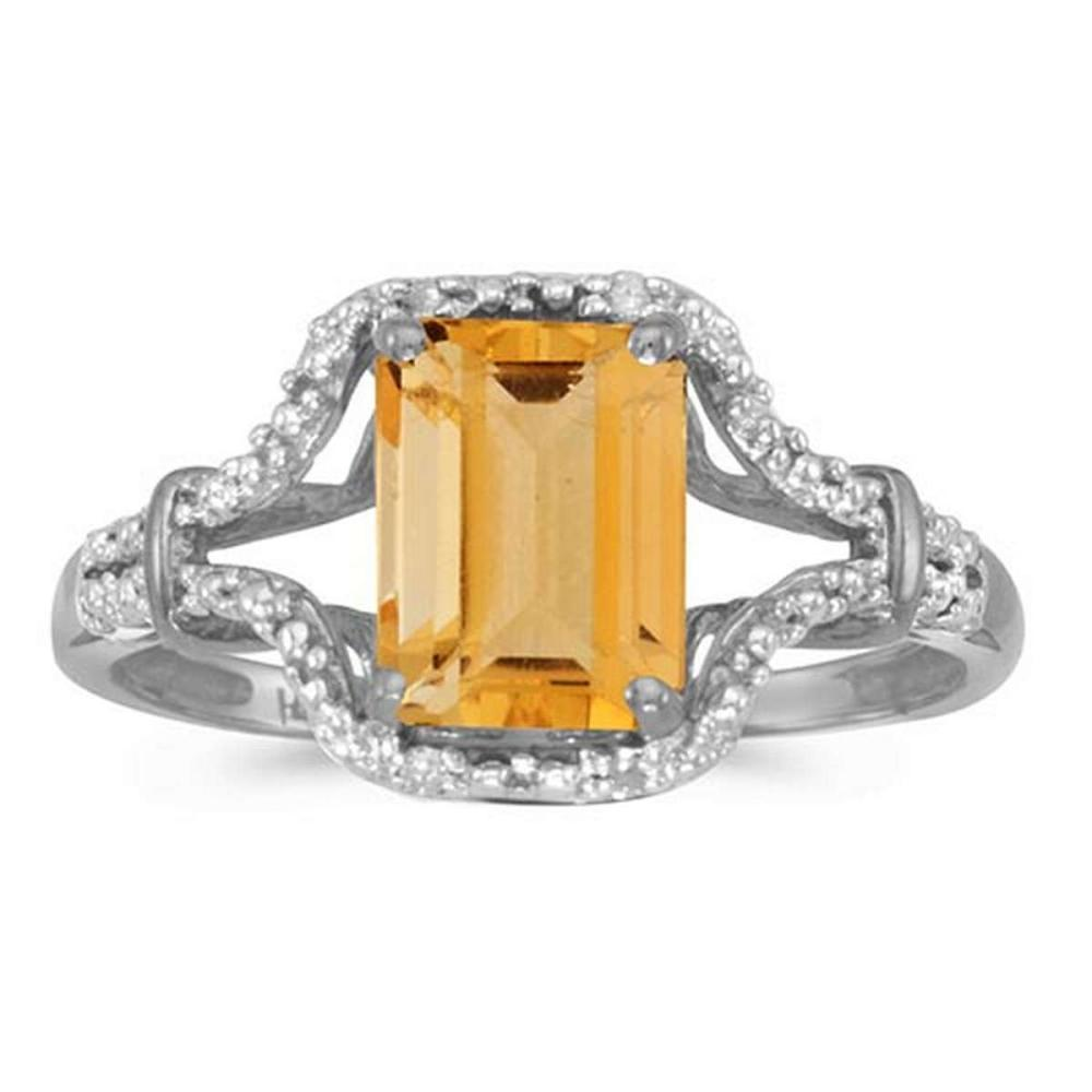 Certified 10k White Gold Emerald-cut Citrine And Diamond Ring #PAPPS51290