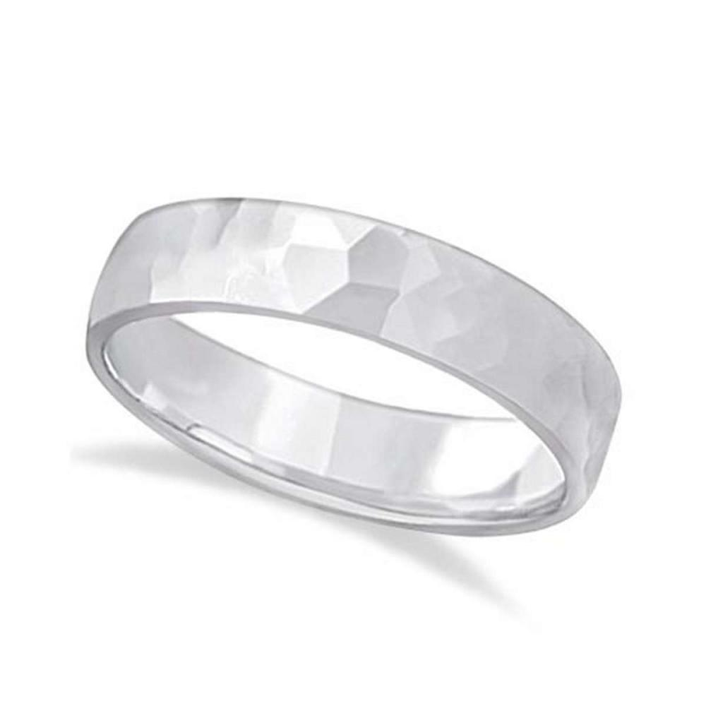 Mens Hammered Finished Carved Band Wedding Ring 14k White Gold (5mm) #PAPPS20976