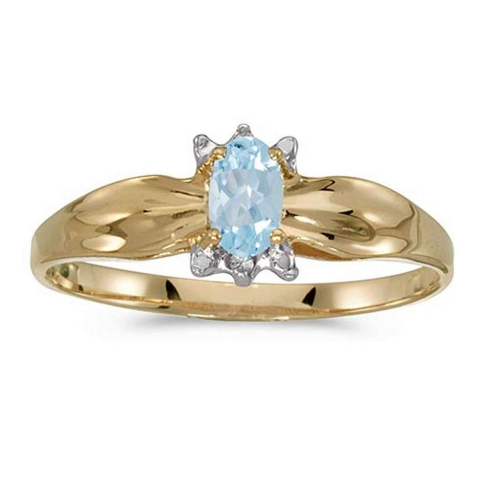 Certified 10k Yellow Gold Oval Aquamarine And Diamond Ring #PAPPS51328