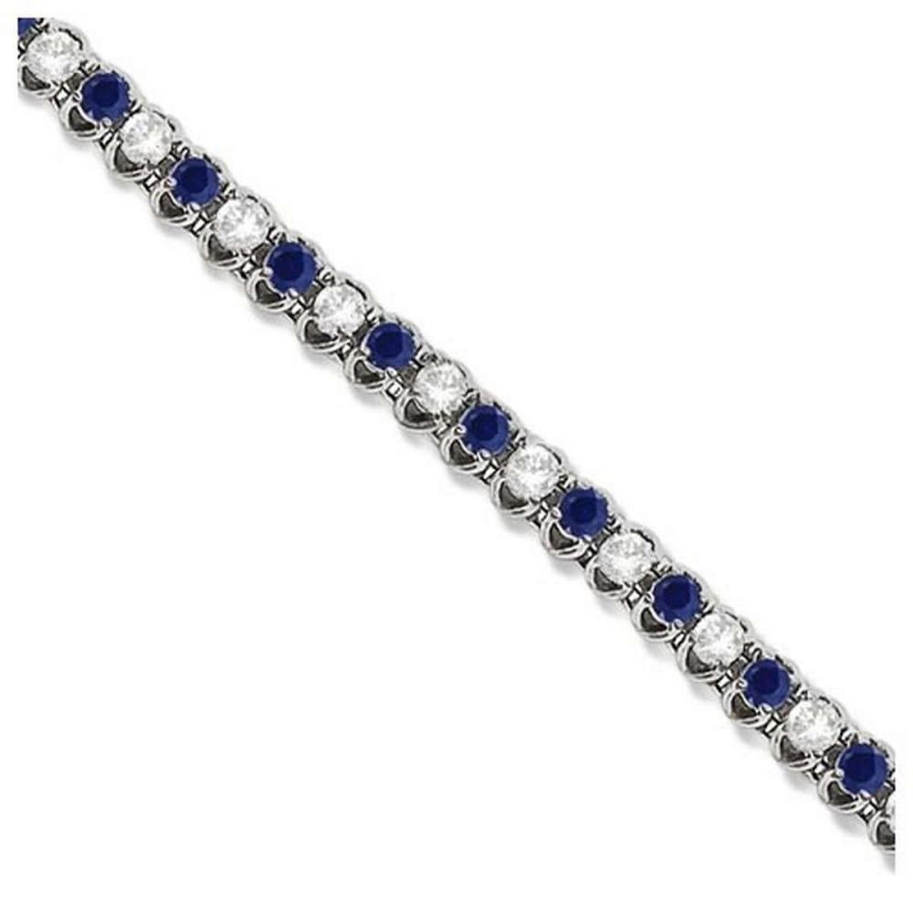 Round Blue Sapphire and Diamond Tennis Bracelet 14k White Gold (4.75ct) #PAPPS20931