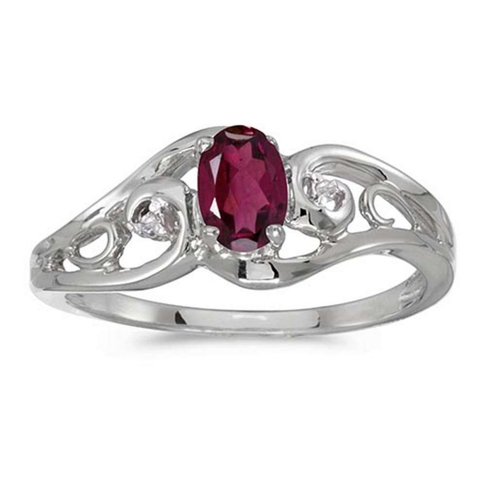 Certified 10k White Gold Oval Rhodolite Garnet And Diamond Ring #PAPPS51261