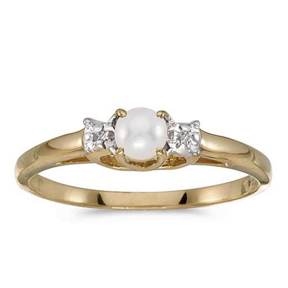 Certified 10k Yellow Gold Pearl And Diamond Ring #PAPPS51223