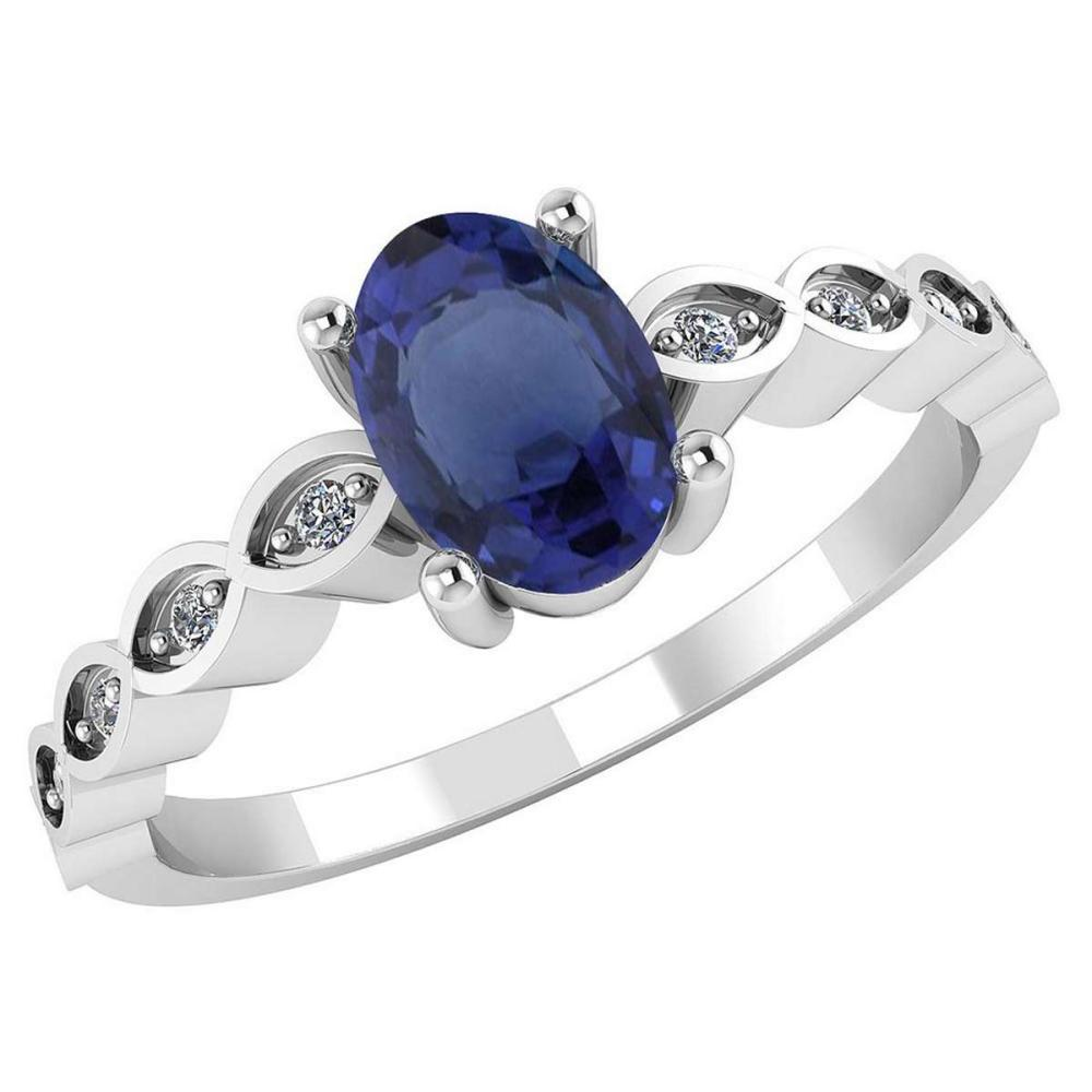 Certified .90 CTW Genuine Blue Sapphire And Diamond 14K White Gold Ring #PAPPS91706