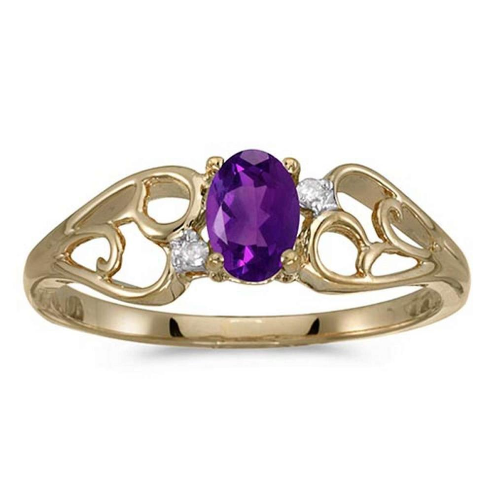 Certified 10k Yellow Gold Oval Amethyst And Diamond Ring #PAPPS51275
