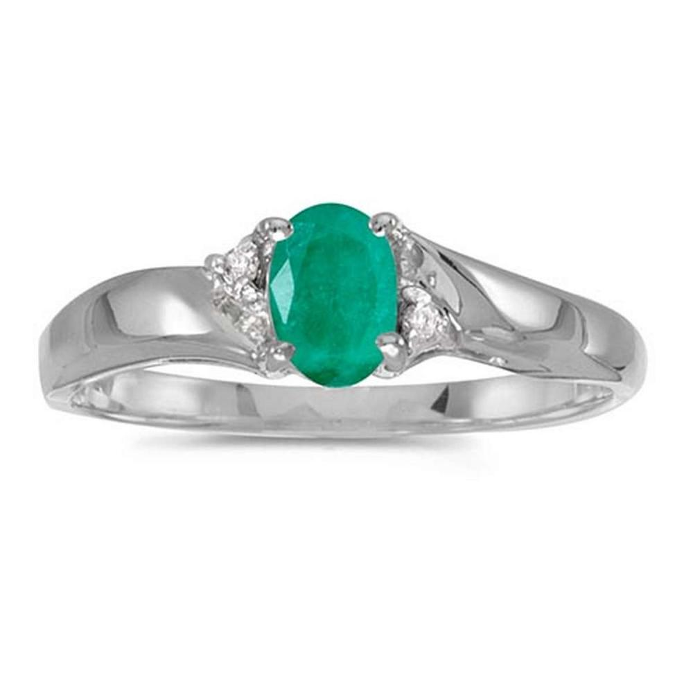 Certified 14k White Gold Oval Emerald And Diamond Ring #PAPPS51221