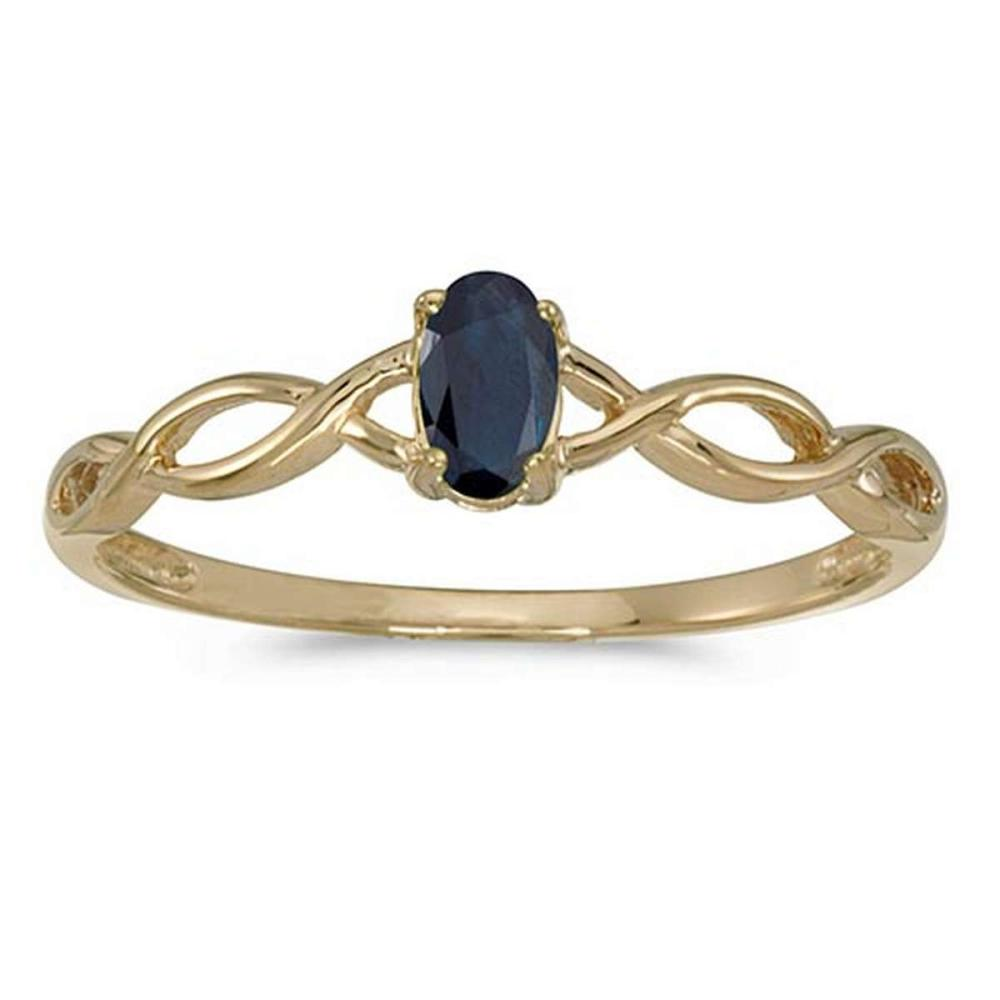 Certified 10k Yellow Gold Oval Sapphire Ring #PAPPS51294