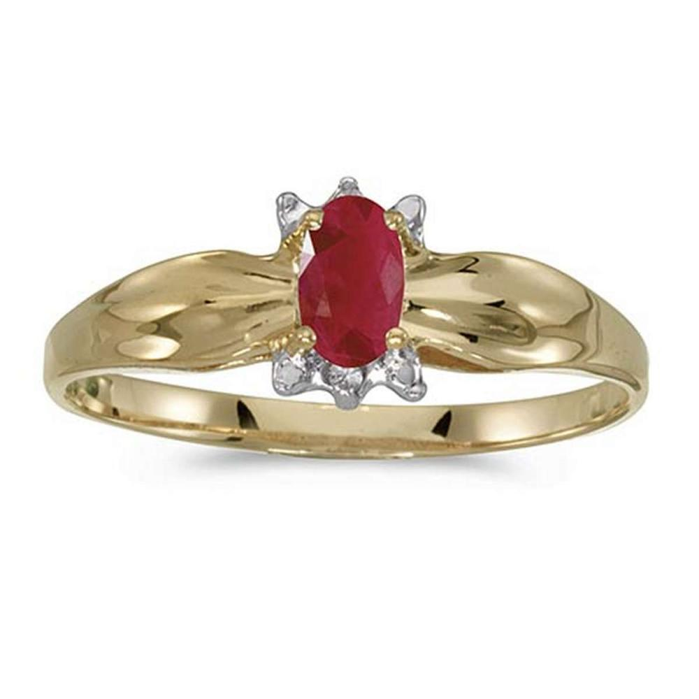 Certified 10k Yellow Gold Oval Ruby And Diamond Ring #PAPPS51314