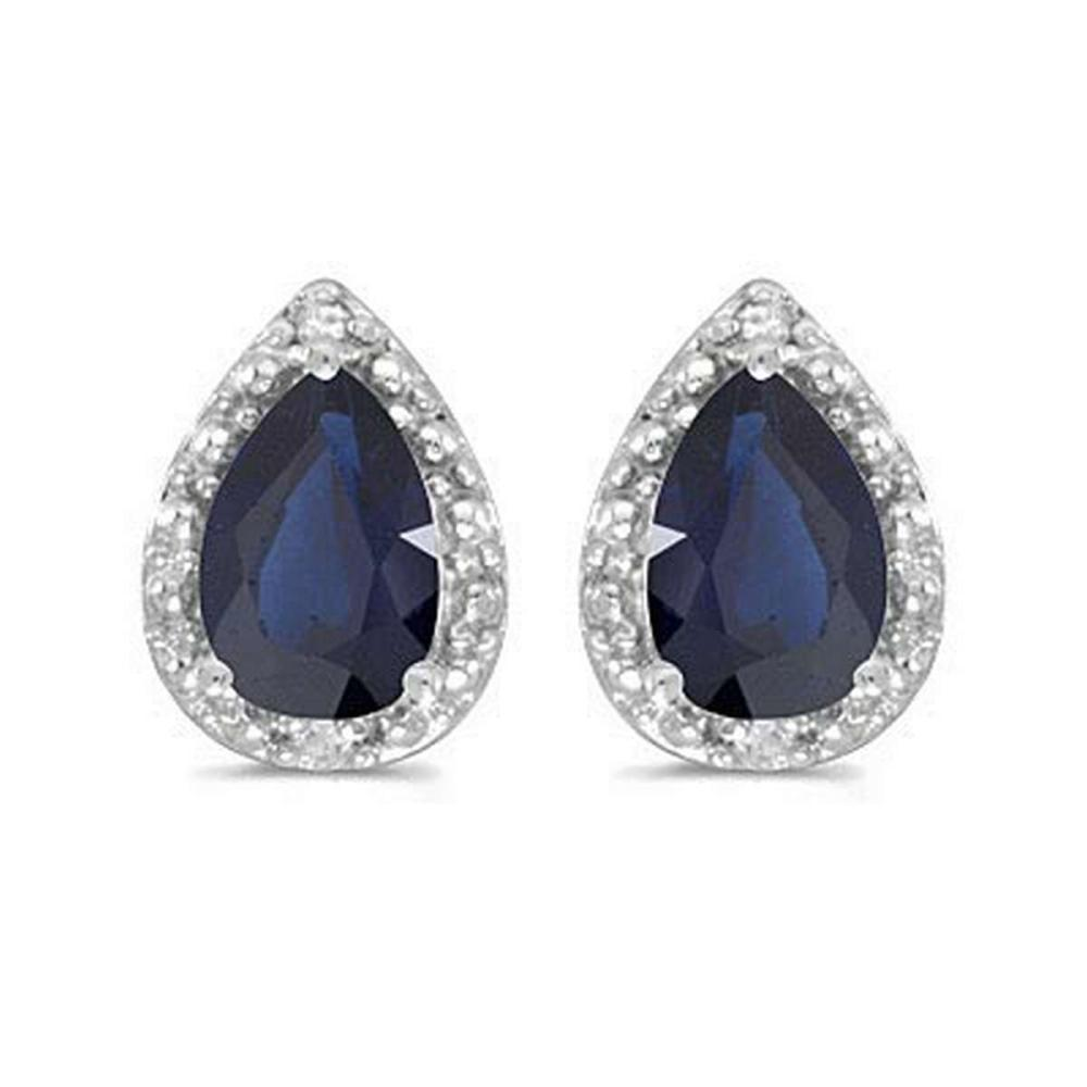 Pear Blue Sapphire and Diamond Stud Earrings 14k White Gold (1.70ct) #PAPPS20853