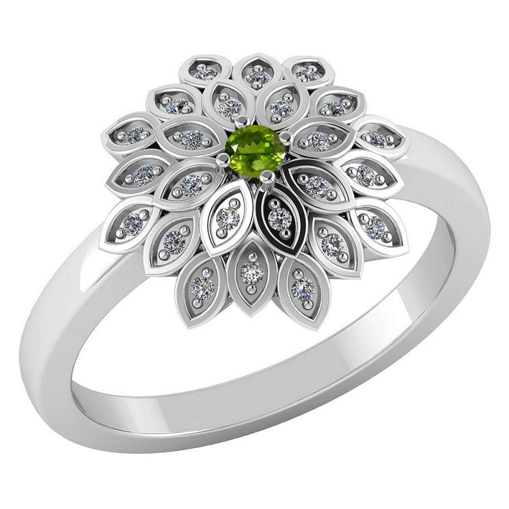 Certified .55 CTW Genuine Peridot And Diamond 14K White Gold Ring #PAPPS91742