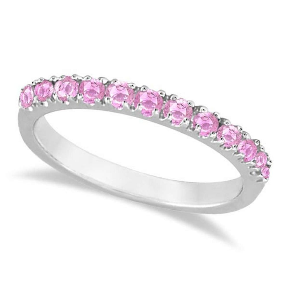 Pink Sapphire Stackable Band Ring Guard in 14k White Gold (0.38ct) #PAPPS20861