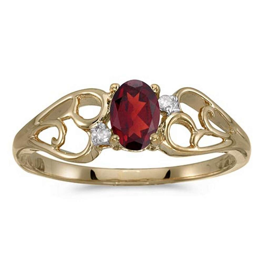 Certified 10k Yellow Gold Oval Garnet And Diamond Ring #PAPPS51277