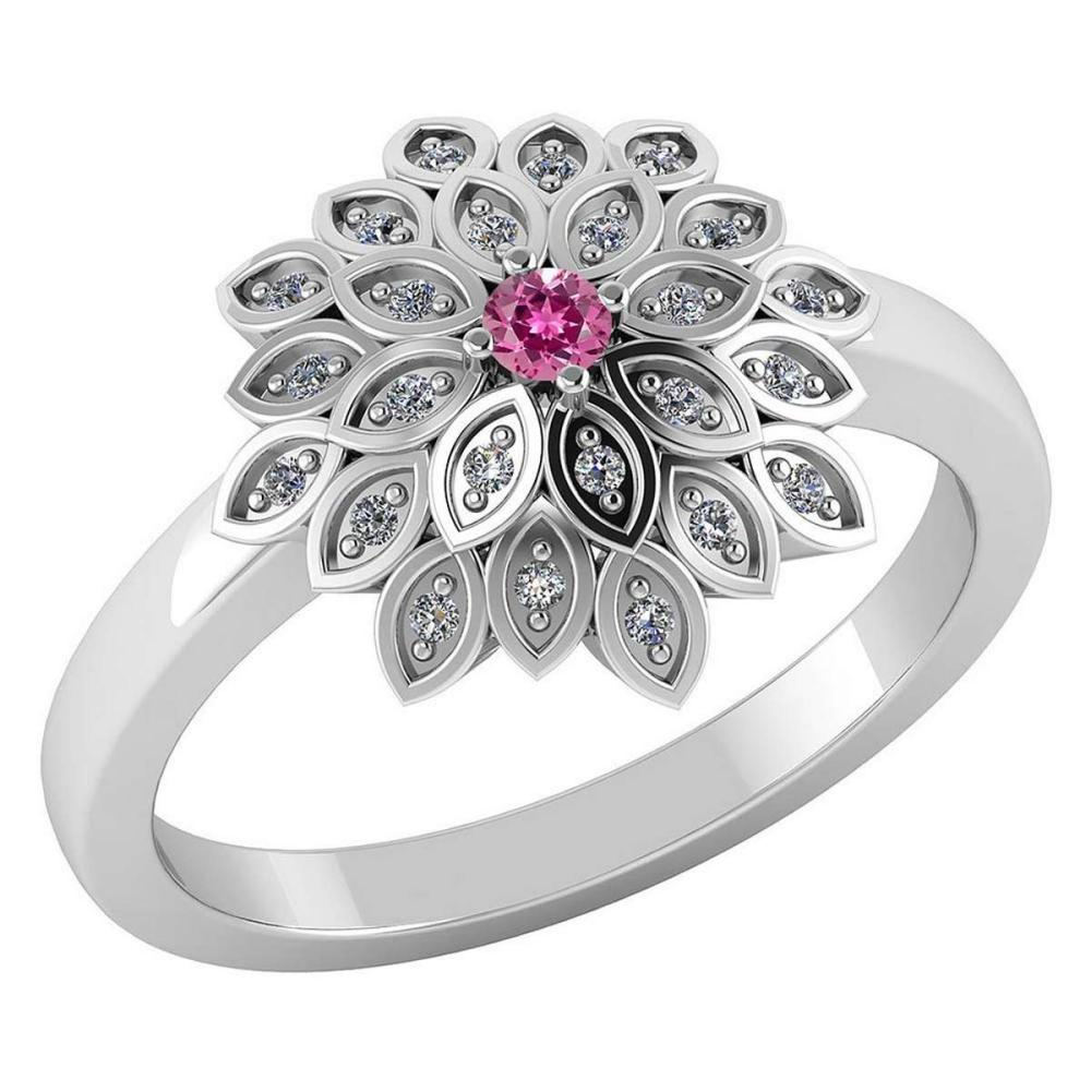 Certified .55 CTW Genuine Pink Tourmaline And Diamond 14K White Gold Ring #PAPPS91740