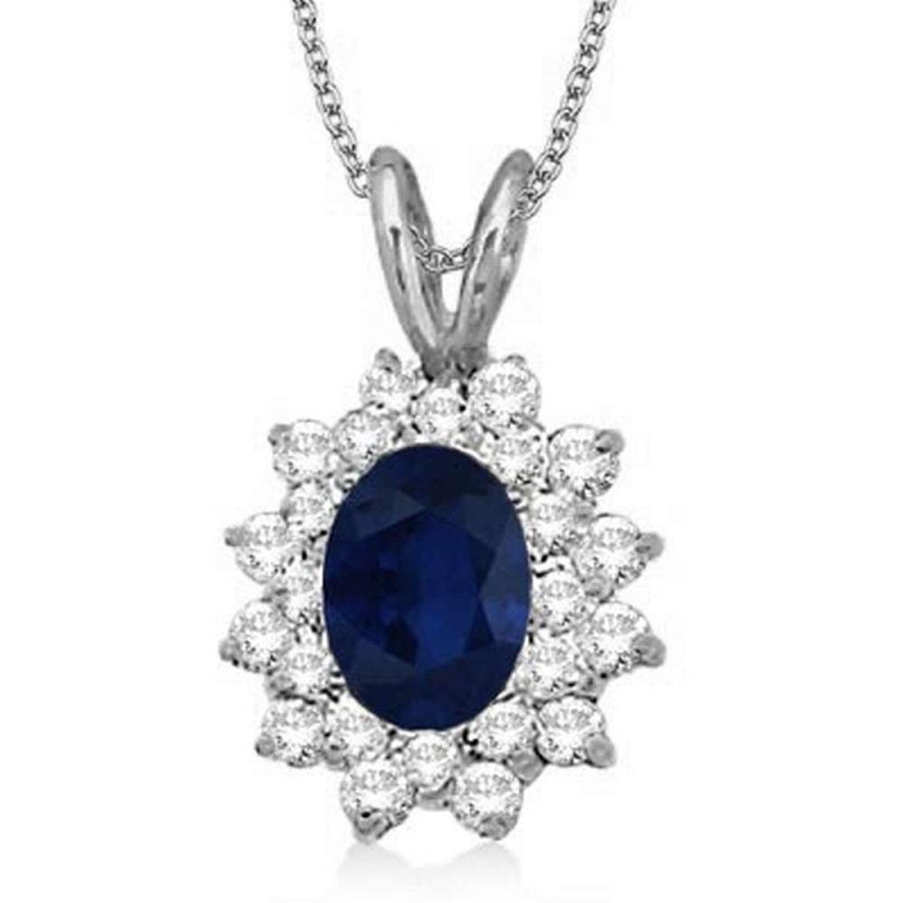 Blue Sapphire and Diamond Accented Pendant 14k White Gold (1.60ctw) #PAPPS20945