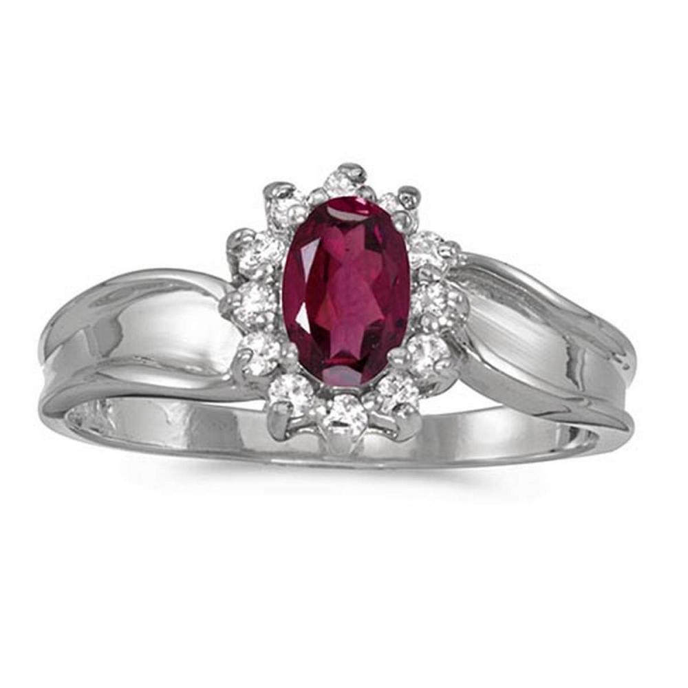 Certified 10k White Gold Oval Rhodolite Garnet And Diamond Ring #PAPPS51298