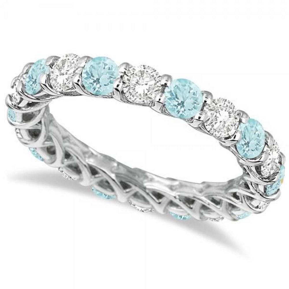 Luxury Diamond and Aquamarine Eternity Ring Band 14k White Gold (4.20ct) #PAPPS20927