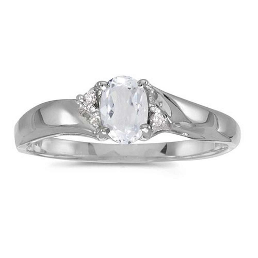 Certified 14k White Gold Oval White Topaz And Diamond Ring #PAPPS51231