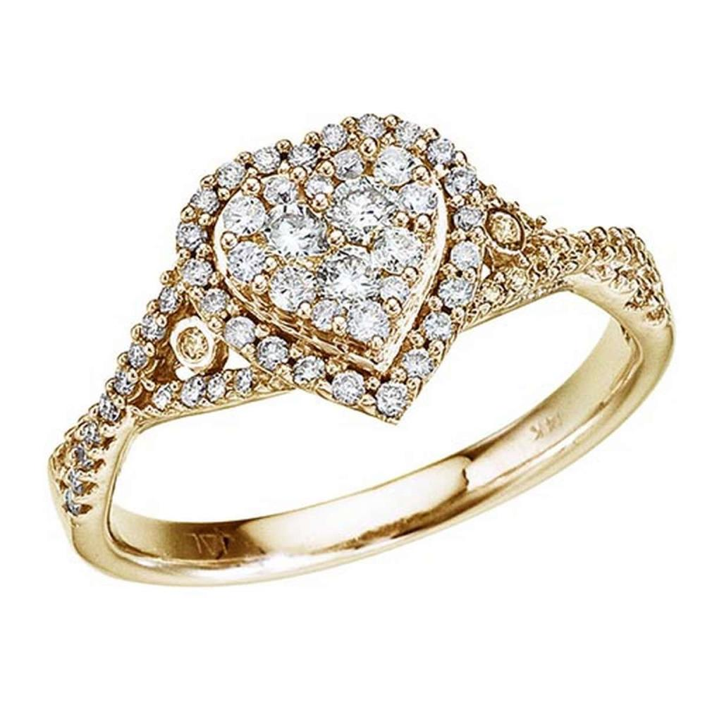 Certified 14K Yellow Gold .50 Ct Diamond Heart Ring #PAPPS51258