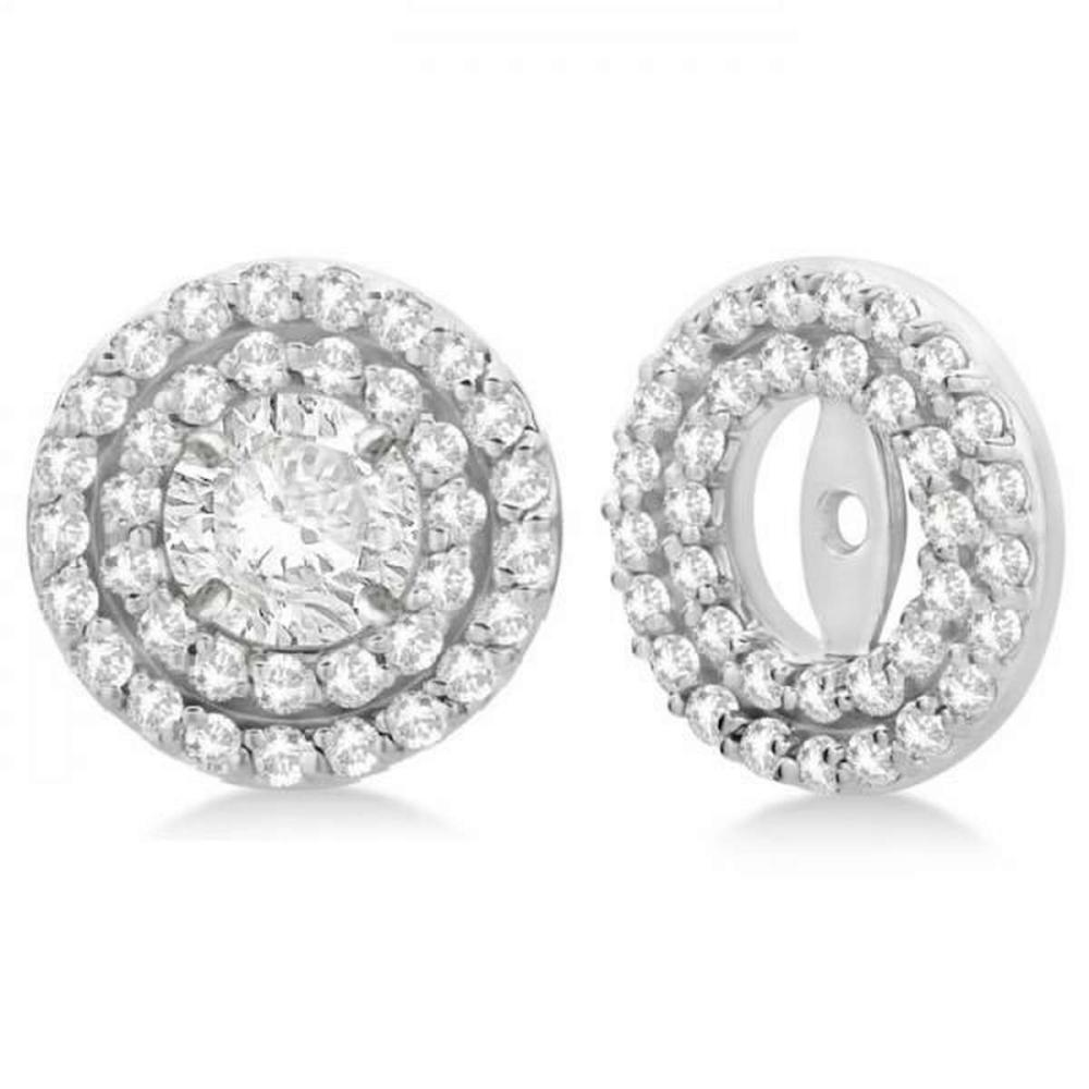 Double Halo Diamond Earring Jackets for 9mm Studs 14k White Gold (0.85ct) #PAPPS20913