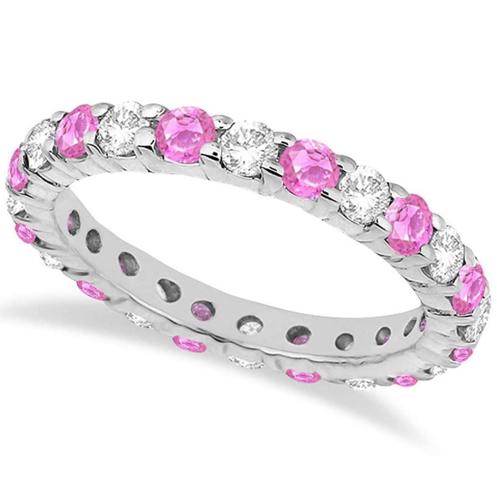Eternity Diamond and Pink Sapphire Ring Band 14k White Gold (2.35ct) #PAPPS20832
