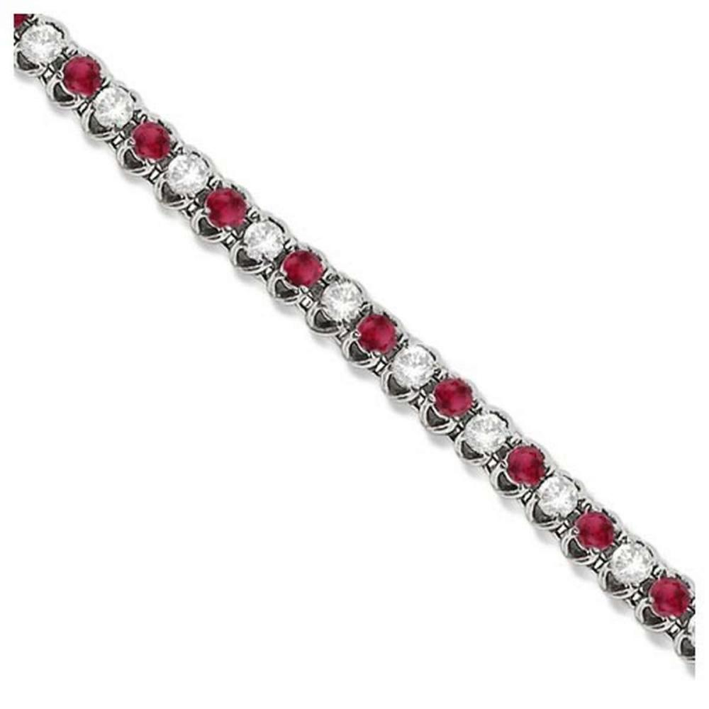 Round Ruby and Diamond Tennis Bracelet 14k White Gold (4.75ct) #PAPPS20930