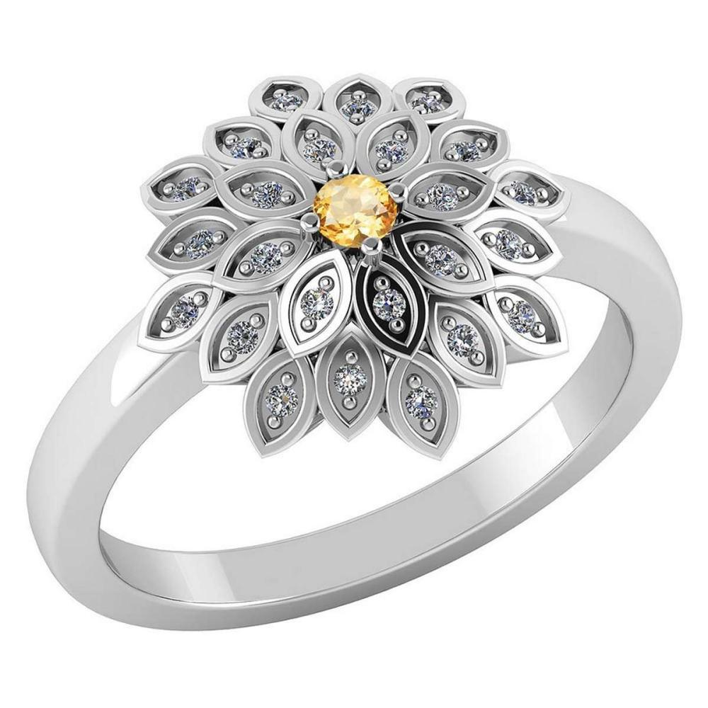 Certified .50 CTW Genuine Citrine And Diamond 14K White Gold Ring #PAPPS91743