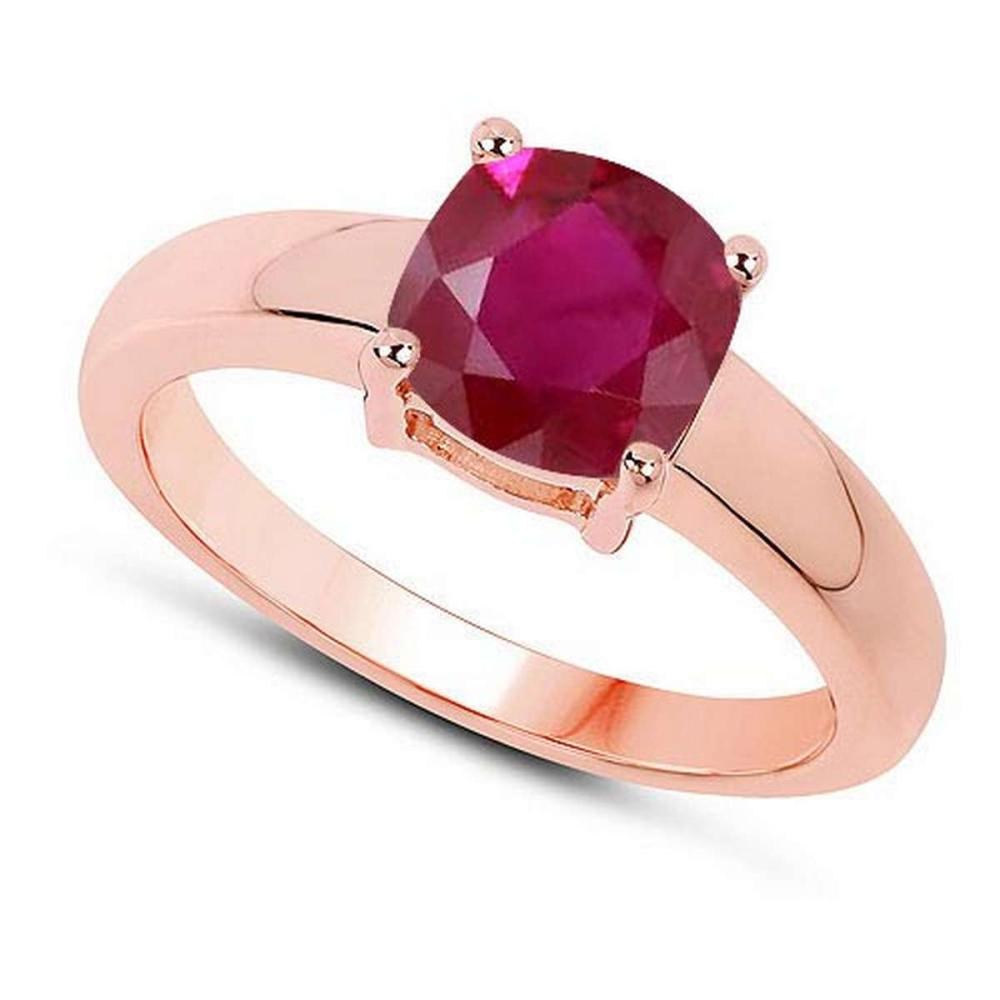 Certified 1.20 CTW Genuine Ruby And 14K Rose Gold Ring #PAPPS90997