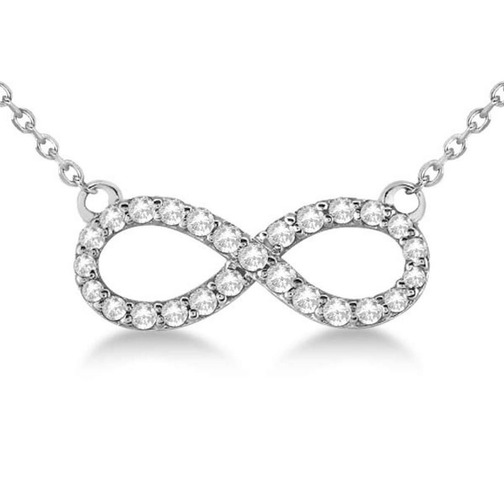 Twisted Infinity Diamond Pendant Necklace 14k White Gold (0.50ct) #PAPPS20940