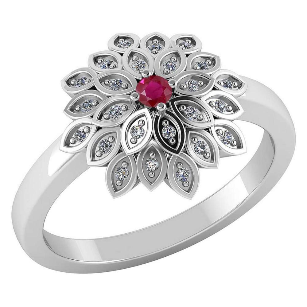 Certified .50 CTW Genuine Ruby And Diamond 14K White Gold Ring #PAPPS91741