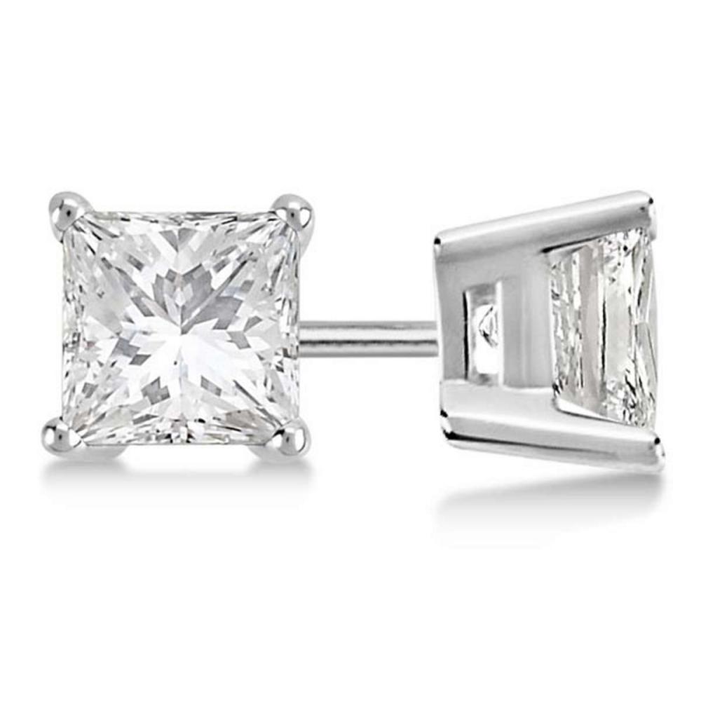 Certified 1.01 CTW Princess Diamond Stud Earrings J/SI1 #PAPPS84069