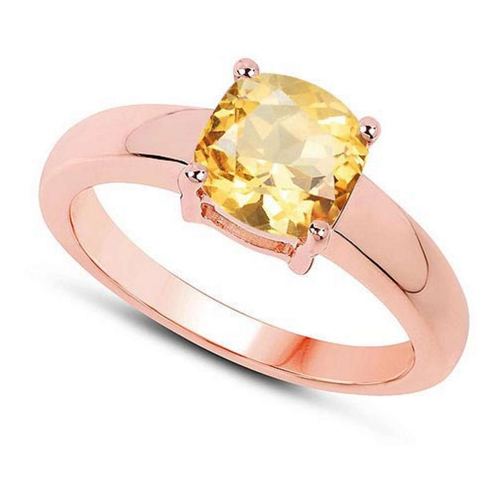 Certified 1.50 CTW Genuine Citrine And 14K Rose Gold Ring #PAPPS90996
