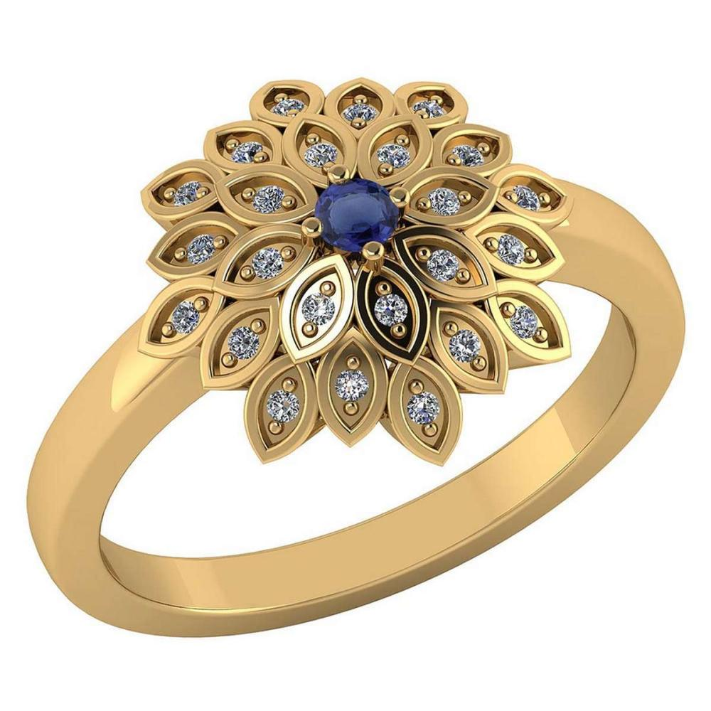 Certified .50 CTW Genuine Blue Sapphire And Diamond 14K Yellow Gold Ring #PAPPS91750