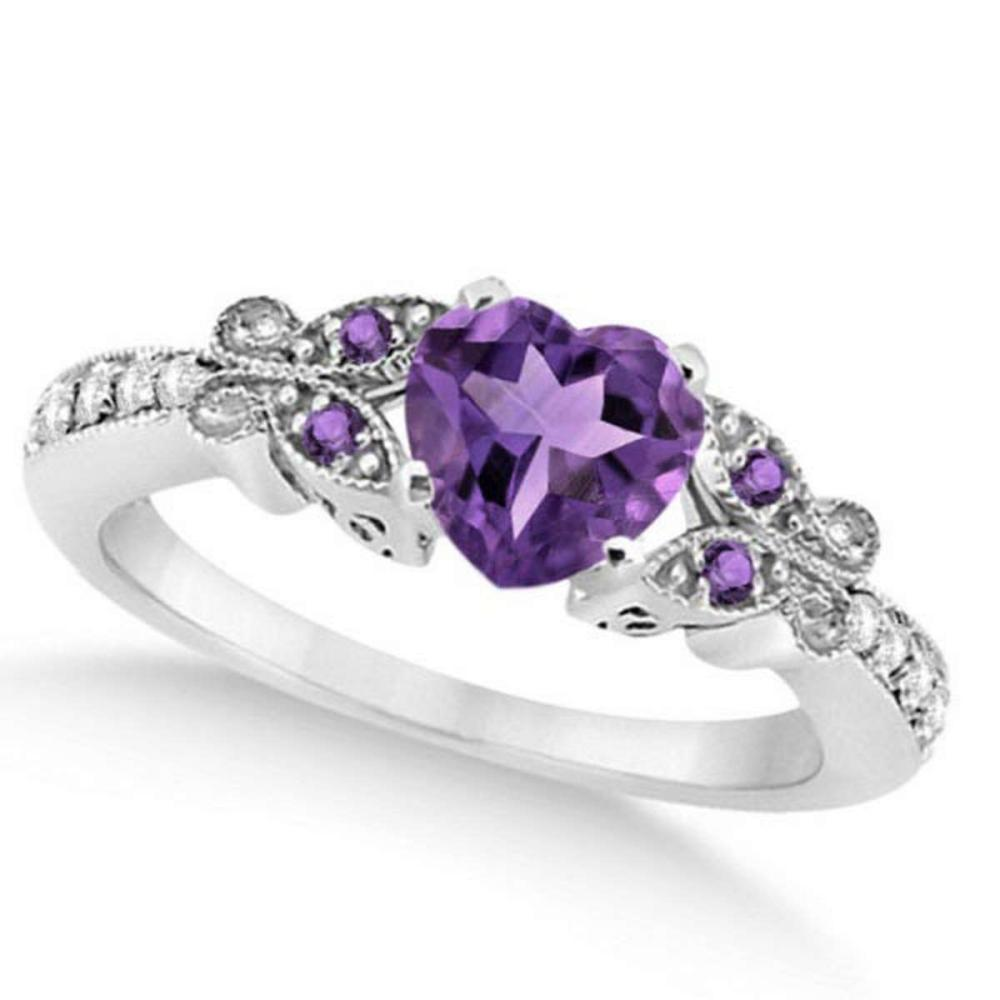 Butterfly Amethyst and Diamond Heart Engagement Ring 14K W Gold 1.28ct #PAPPS20854
