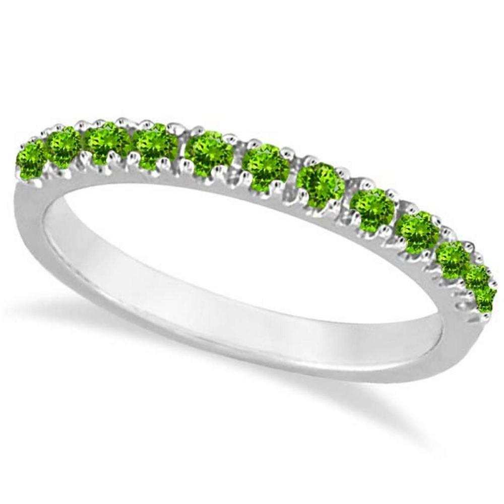 Peridot Stackable Band Anniversary Ring Guard 14k White Gold (0.38ct) #PAPPS20974