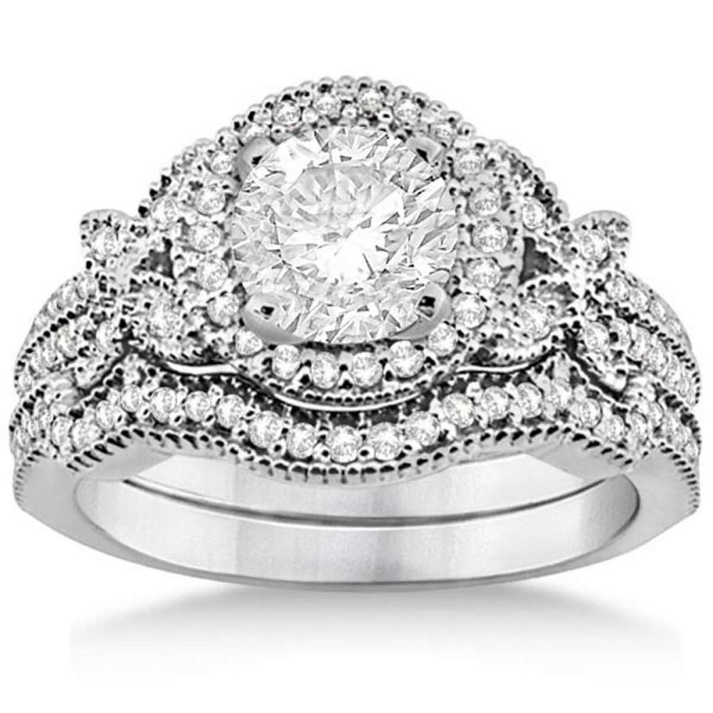 Butterfly Diamond Engagement Ring and Band 18k White Gold (1.18ct) #PAPPS20847