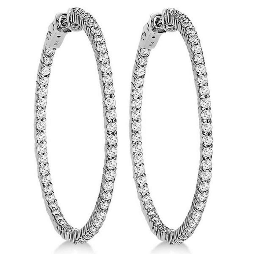Prong-Set Diamond Hoop Earrings in 14k White Gold (3.00ct) #PAPPS20971