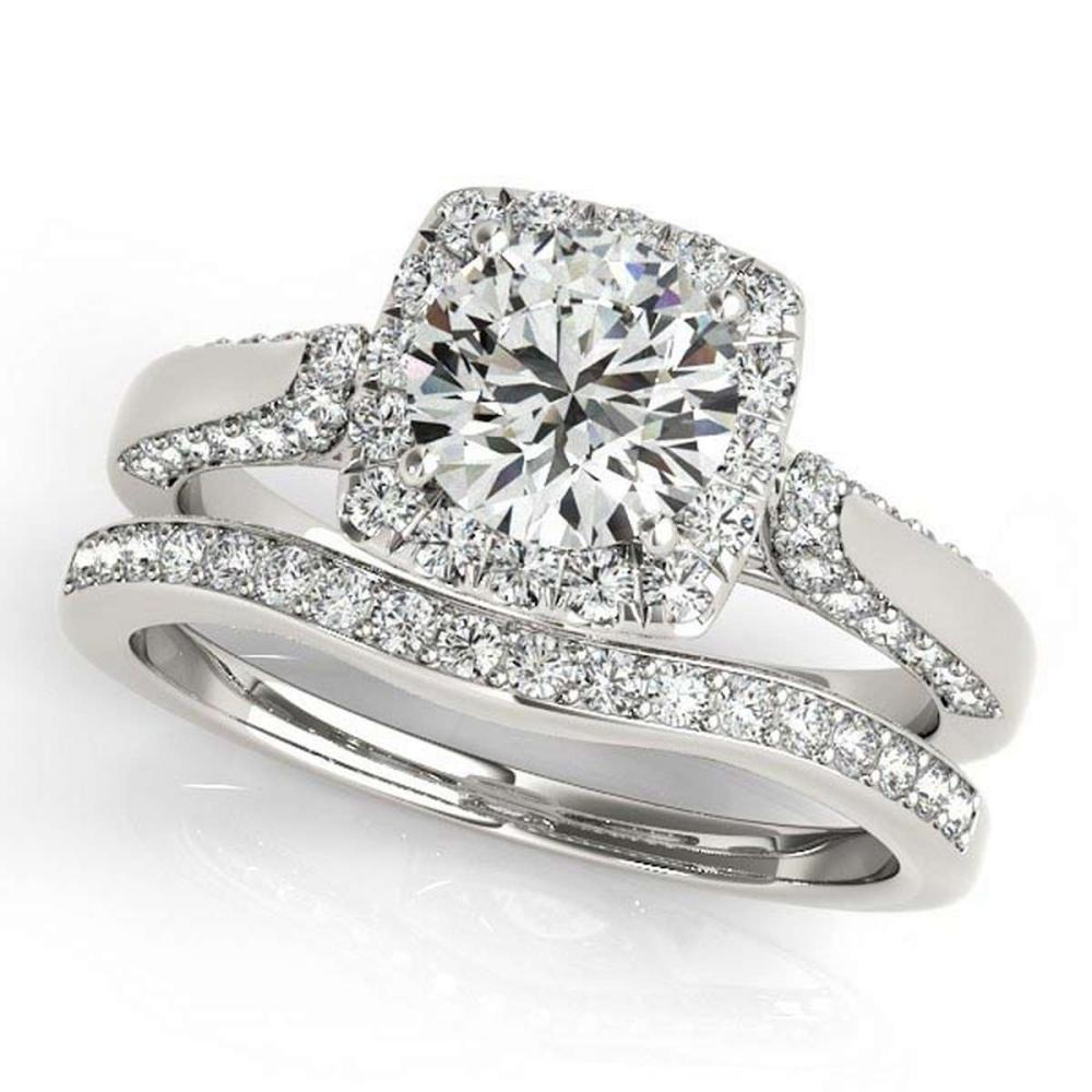 Diamond Accented Square Halo Ring and Band Bridal Set 14k W. Gold 1.25ct #PAPPS20952