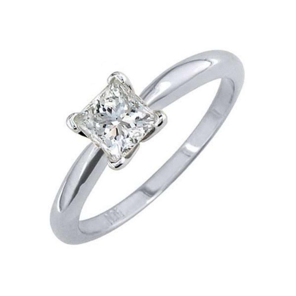 Certified 0.64 CTW Princess Diamond Solitaire 14k Ring F/SI2 #PAPPS84546