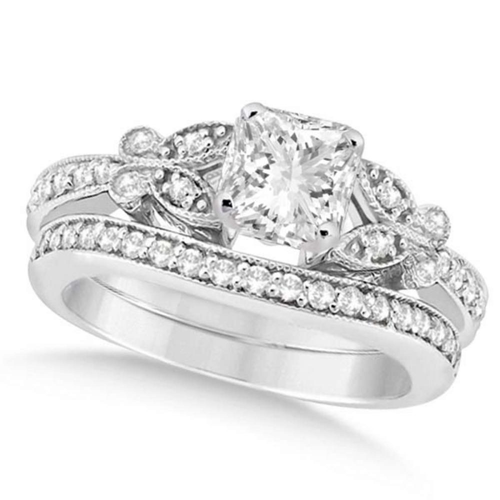 Princess Diamond Butterfly Bridal Ring Set 14k White Gold (1.21ct) #PAPPS20891