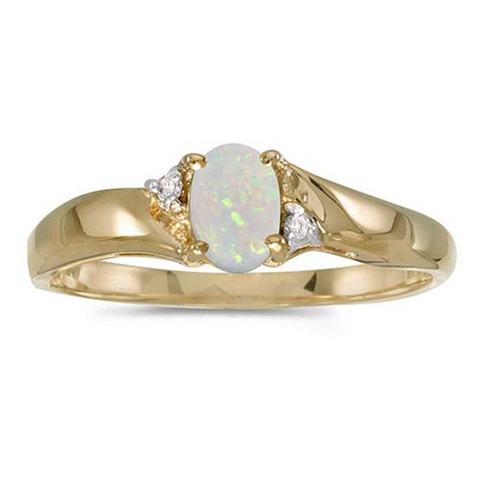 Certified 14k Yellow Gold Oval Opal And Diamond Ring #PAPPS51287