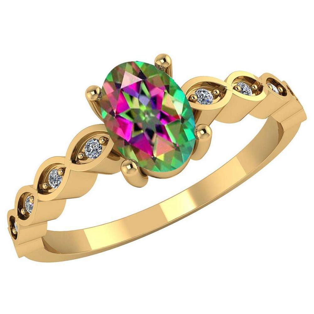 Certified .90CTW Genuine Mystic Topaz And Diamond 14K Yellow Gold Ring #PAPPS91735