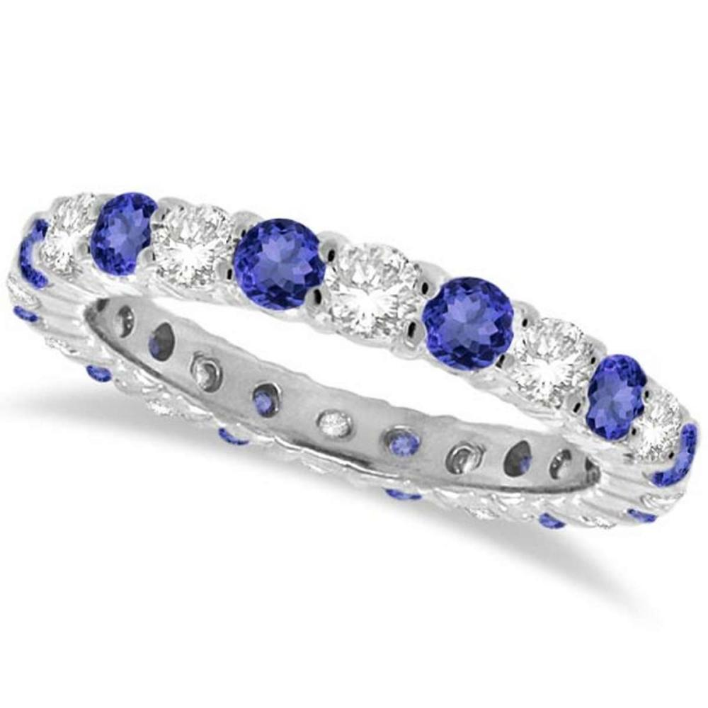 Tanzanite and Diamond Eternity Ring Band 14k White Gold (1.07ct) #PAPPS20968