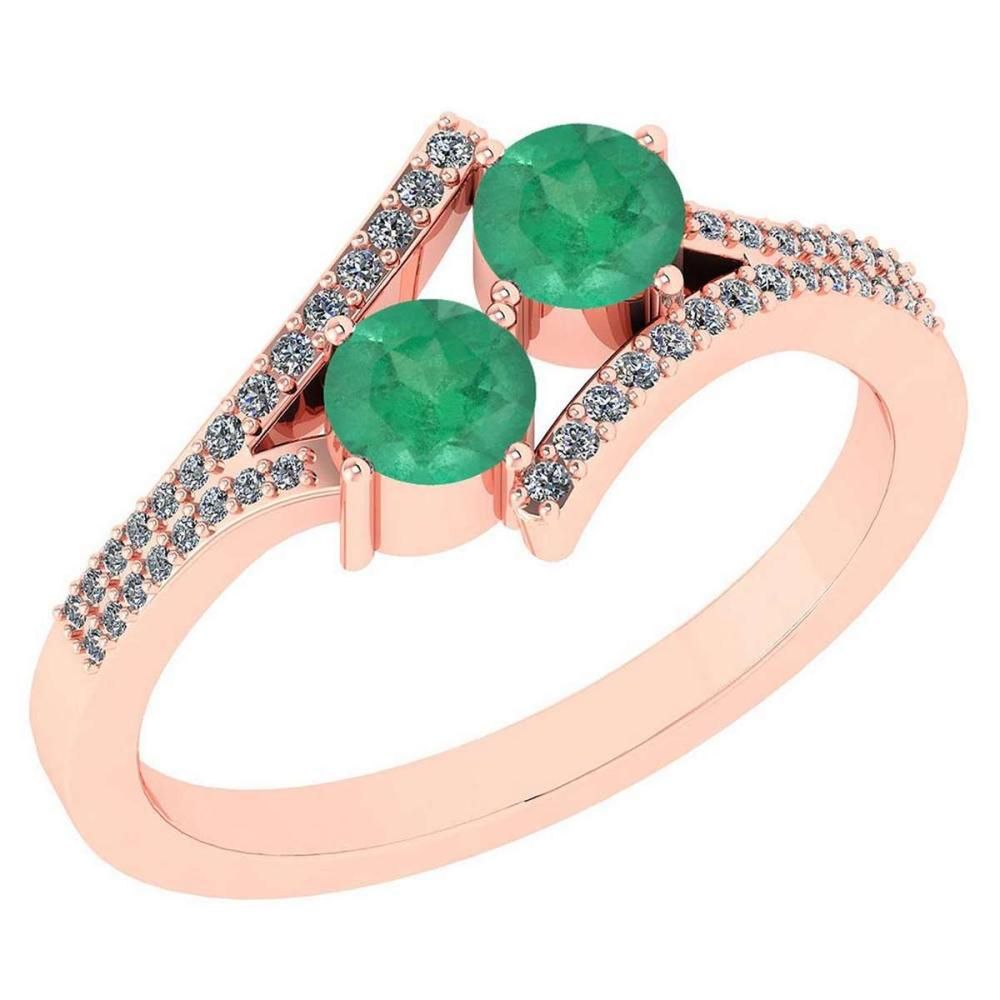 Certified 1.06 Ctw Genuine Emerald And Diamond 14k Rose ... - photo#33