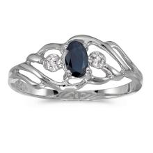 Certified 10k White Gold Oval Sapphire And Diamond Ring 0.26 CTW #51152v3