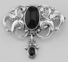 Antique Style Dangle Pin with Onyx - Sterling Silver #97445v2