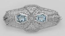 Victorian Style Blue Topaz Filigree Pin - Brooch - Sterling Silver #97627v2