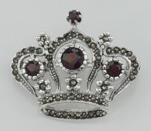 Marcasite / Garnet Crown Pin / Brooch - Sterling Silver #97444v2
